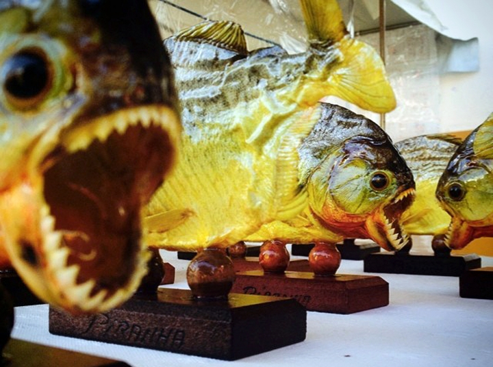FILE - This 2014 file photo shows mounted piranhas at a market in Curitiba, Brazil. A famous South American chef was stopped as he brought 40 frozen piranhas in a duffel bag through Los Angeles International Airport recently. Virgilio Martinez, chef-owner of Central restaurant in Peru, says he hoped to serve the sharp-toothed fish during an LA food festival. Customs agents eventually let Martinez through with the piranhas. He used them that night on a salad. (AP Photo/Raul Gallego Abellan, File)