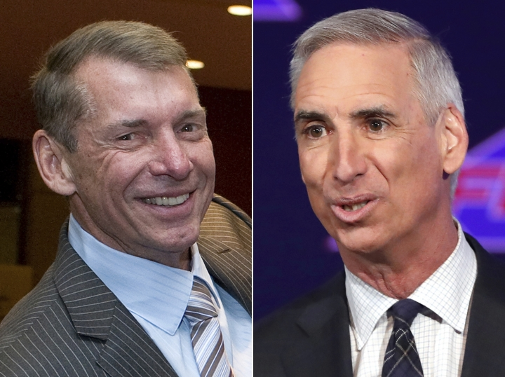 FILE - At left, in a May 18, 2012, file photo, Vince McMahon is shown at the Republican state convention in Hartford, Conn. At right, in a Feb. 7, 2019, file photo, XFL Commissioner and CEO Oliver Luck makes comments during a news conference in Arlington, Texas. The XFL has reached multiyear agreements with ESPN and Fox Sports to broadcast its games beginning in 2020. The league also announced Monday, May 6, 2019, that its season will start Feb. 8, the weekend after the NFL season ends with the Super Bowl. This is the second time Vince McMahon has launched a football league. (AP Photo/File)