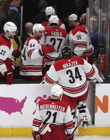 Carolina Hurricanes goaltender Petr Mrazek (34), of the Czech Republic, and teammates head to the locker room after the team's 5-2 loss to the Boston Bruins in Game 1 of the NHL hockey Stanley Cup Eastern Conference finals Thursday, May 9, 2019, in Boston. (AP Photo/Charles Krupa)