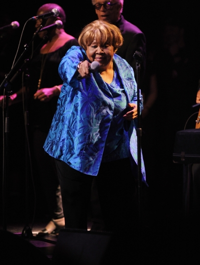 """Singer Mavis Staples performs at the Apollo Theater to celebrate the release of her new album """"We Get By,"""" on Thursday, May 9, 2019, in New York. (Photo by Brad Barket/Invision/AP)"""