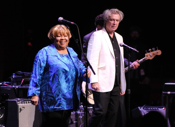 "Singer Mavis Staples, left, and David Byrne perform at the Apollo Theater to celebrate the release of her new album ""We Get By,"" on Thursday, May 9, 2019, in New York. (Photo by Brad Barket/Invision/AP)"