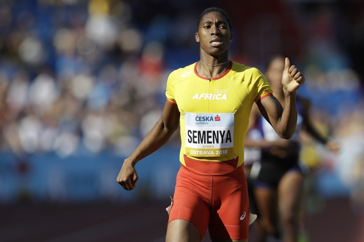 FILE - In this Sunday, Sept. 9, 2018 file photo, Caster Semenya of South Africa crosses the finish line to win the women's 800 meters for Africa at the IAAF track and field Continental Cup in Ostrava, Czech Republic. Officials of track and field's world governing body - the IAAF - said before a news conference on Friday, May 10, 2019, in Japan that president Sebastian Coe would not comment further on the landmark legal case involving two-time Olympic gold-medal winner Semenya.(AP Photo/Petr David Josek, File)