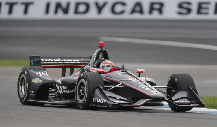 Will Power, of Australia, drives through a tune during practice for the Indy GP IndyCar auto race at Indianapolis Motor Speedway, Friday, May 10, 2019 in Indianapolis. (AP Photo/Michael Conroy)