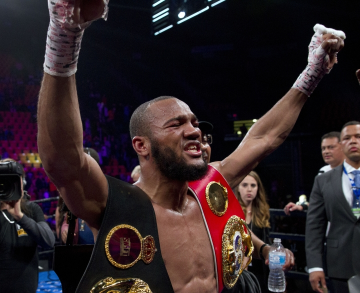 Julian Williams celebrates after defeating Jarrett Hurd for the IBF, WBA and IBO super welterweight boxing titles in Fairfax, Va., Saturday, May 11, 2019. Williams won by unanimous decision. (AP Photo/Jose Luis Magana)
