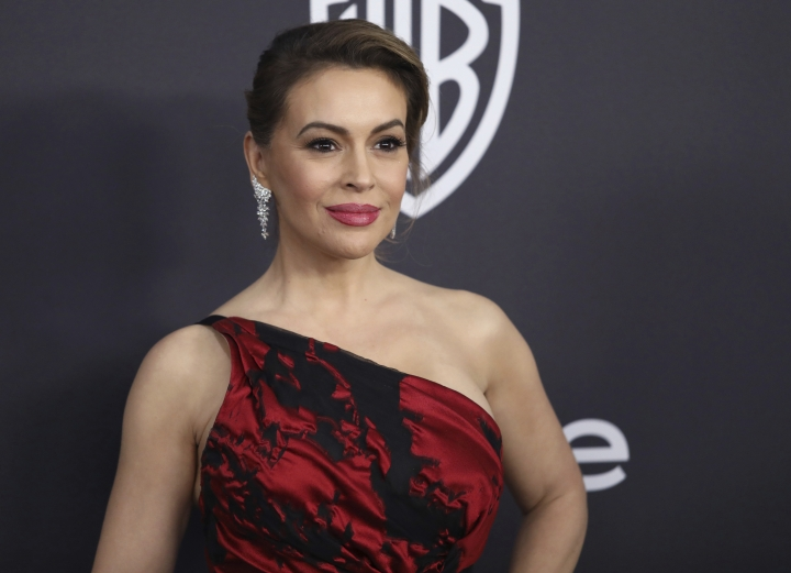FILE - In this Jan. 6, 2019 file photo, Alyssa Milano arrives at the InStyle and Warner Bros. Golden Globes afterparty at the Beverly Hilton Hotel in Beverly Hills, Calif. Actress Alyssa Milano got people riled up on social media with a tweet Friday night, May 10, 2019 calling for women to join her in a sex strike to protest strict abortion bans passed by Republican-controlled legislatures. (Photo by Matt Sayles/Invision/AP, File)