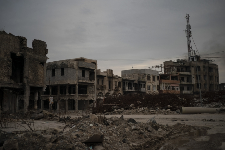 This April 14, 2019 photo shows debris from buildings destroyed during the war in Mosul, Iraq. In the summer of 2014, nearby Badoush was a launching pad for the Islamic State militants' blitz that overran Mosul and much of northern Iraq. (AP Photo/Felipe Dana)