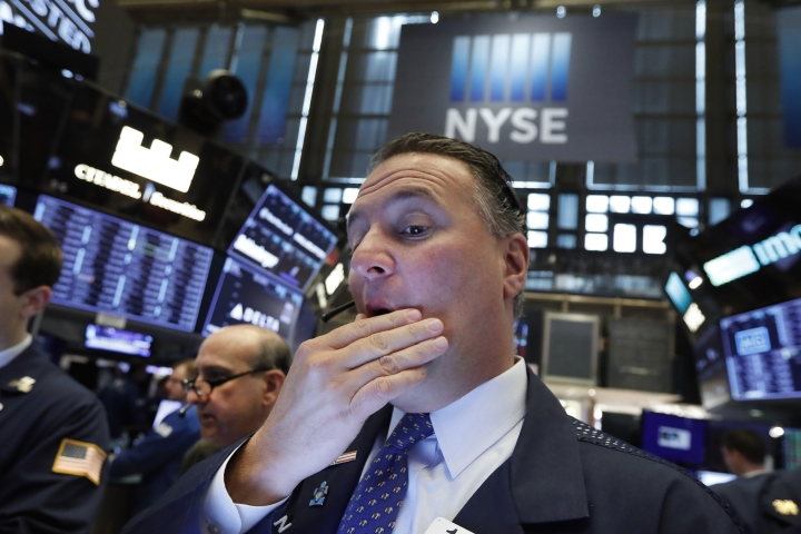 FILE - In this May 9, 2019, file photo trader Jonathan Corpina works on the floor of the New York Stock Exchange. The U.S. stock market opens at 9:30 a.m. EDT on Monday, May 13. (AP Photo/Richard Drew, File)