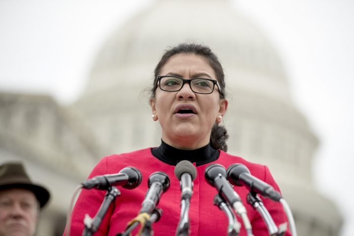 "FILE - On this Jan. 17, 2019, file photo, Rep. Rashida Tlaib, D-Mich., speaks at a news conference on Capitol Hill in Washington. Democrats on Monday, May 13, defended Tlaib after President Donald Trump and his allies mischaracterized her remarks about the Holocaust to accuse her of anti-Semitism. Tlaib told a Yahoo News podcast that she gets ""a calming feeling"" when she thinks of how her Palestinian ancestors suffered under the creation of the state of Israel. (AP Photo/Andrew Harnik, File)"