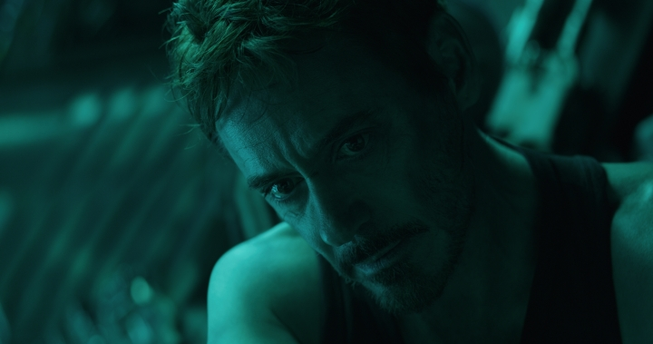 "This image released by Disney shows Robert Downey Jr. in a scene from ""Avengers: Endgame."" (Disney/Marvel Studios via AP)"