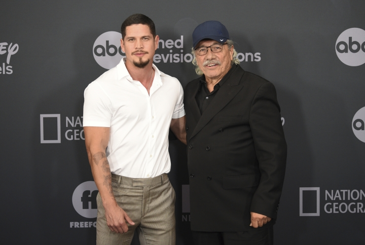 JD Pardo, left, and Edward James Olmos attend the Walt Disney Television 2019 upfront at Tavern on The Green on Tuesday, May 14, 2019, in New York. (Photo by Evan Agostini/Invision/AP)