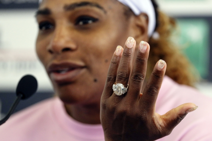 Serena Williams, of the United States, gestures as she meets the journalists after winning her match against Sweden's Rebecca Peterson at the Italian Open tennis tournament, in Rome, Monday, May, 13, 2019. (AP Photo/Gregorio Borgia)