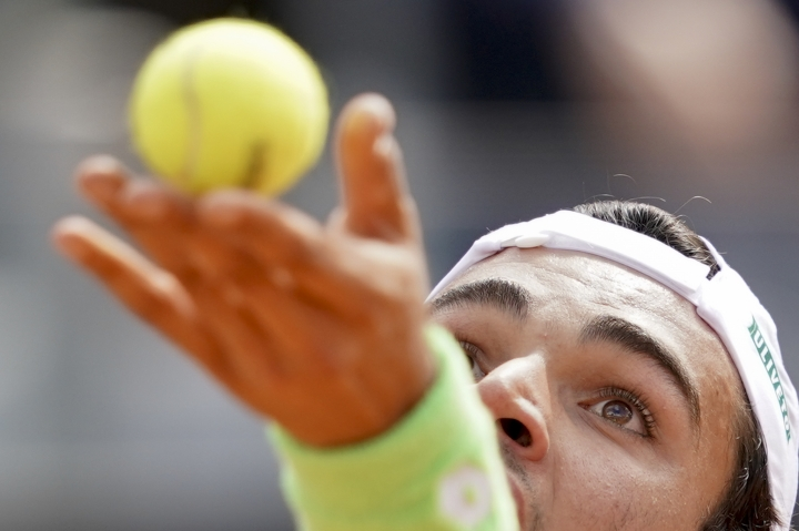 Matteo Berrettini of Italy serves the ball to Alexander Zverev of Germany at the Italian Open tennis tournament, in Rome, Tuesday, May, 14, 2019. (AP Photo/Andrew Medichini)