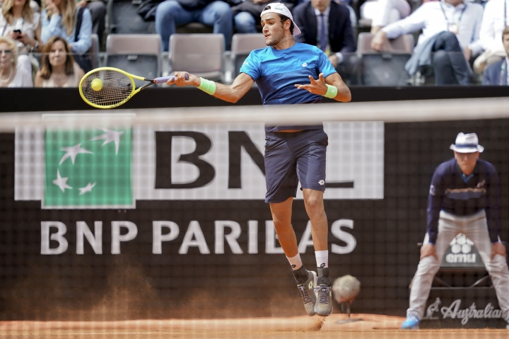 Matteo Berrettini of Italy returns the ball to Alexander Zverev of Germany at the Italian Open tennis tournament, in Rome, Tuesday, May, 14, 2019. (AP Photo/Andrew Medichini)