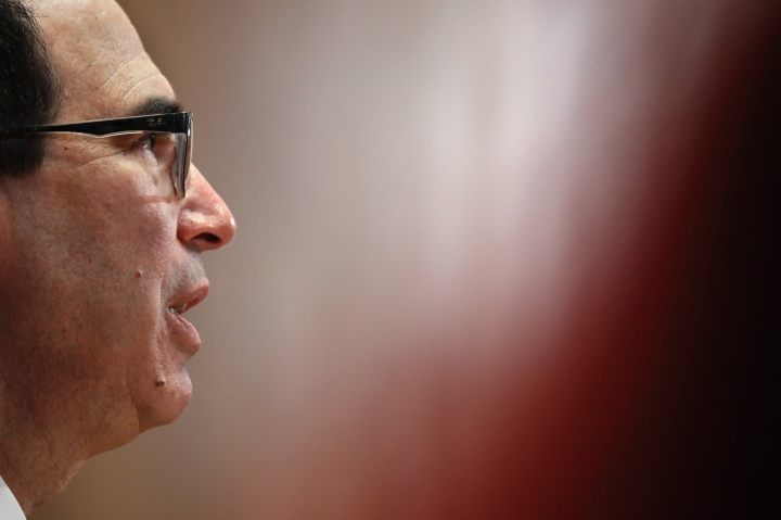 Treasury Secretary Steve Mnuchin testifies about the budget to a Financial Services and General Government subcommittee, Wednesday May 15, 2019, on Capitol Hill in Washington. (AP Photo/Jacquelyn Martin)