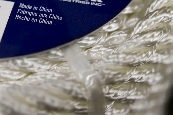 In this May 9, 2019, photo synthetic rope, with labeling indicating it was made in China, is displayed in a store in Cranberry Township, Pa. The 25% tariffs President Donald Trump has imposed on thousands of Chinese-made products have business owners trying to determine how or whether they can limit the damage to profits from the import duties. (AP Photo/Keith Srakocic)