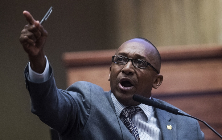 Sen. Bobby Singleton speaks about a ban on nearly all abortions during a debate in the senate chamber in the Alabama State House in Montgomery, Ala., on Tuesday, May 14, 2019. The legislation would make performing an abortion a felony at any stage of pregnancy with almost no exceptions. (Mickey Welsh/The Montgomery Advertiser via AP)