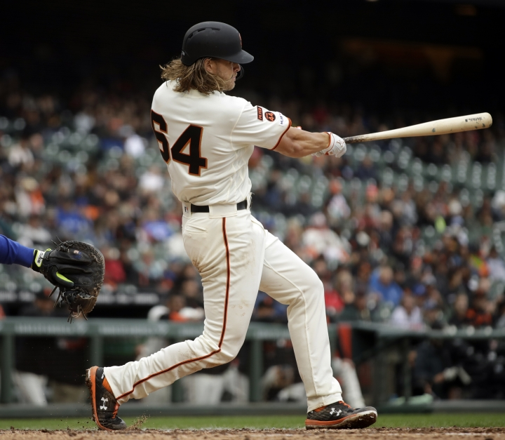 San Francisco Giants' Shaun Anderson swings for a single off Toronto Blue Jays' Edwin Jackson in the fourth inning of a baseball game Wednesday, May 15, 2019, in San Francisco. (AP Photo/Ben Margot)
