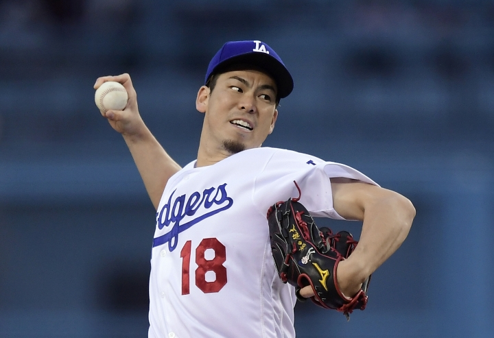 Los Angeles Dodgers starting pitcher Kenta Maeda, of Japan, throws during the first inning of the team's baseball game against the San Diego Padres on Wednesday, May 15, 2019, in Los Angeles. (AP Photo/Mark J. Terrill)