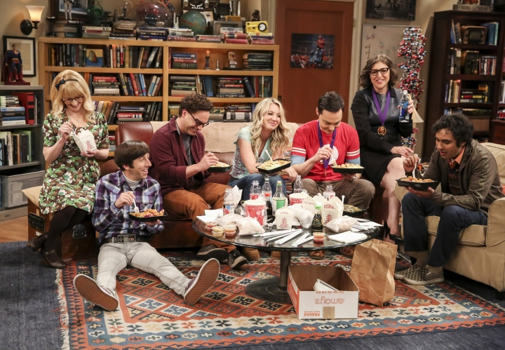 """This photo provided by CBS shows Melissa Rauch, from left, Simon Helberg, Johnny Galecki, Kaley Cuoco, Jim Parsons, Mayim Bialik and Kunal Nayyar in a scene from the series finale of """"The Big Bang Theory,"""" Thursday, May 16, 2019, airing 8:30 - 9:00 p.m., ET/PT, on the CBS Television Network. (Michael Yarish/CBS via AP)"""