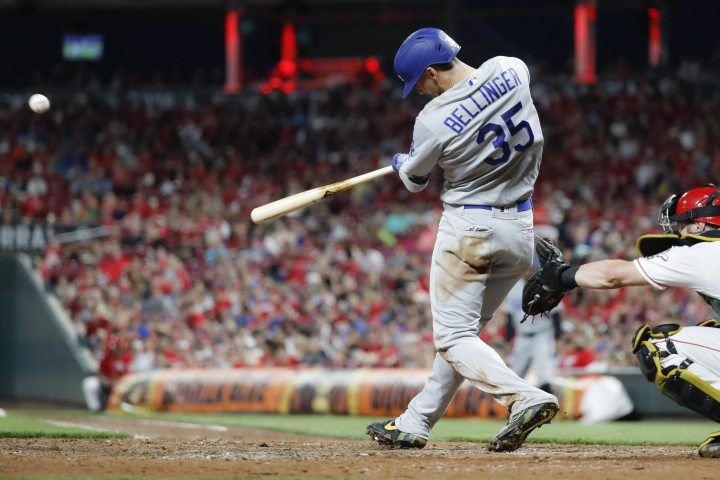 Los Angeles Dodgers' Cody Bellinger hits a solo home run off Cincinnati Reds relief pitcher Zach Duke in the eighth inning of a baseball game, Friday, May 17, 2019, in Cincinnati. (AP Photo/John Minchillo)