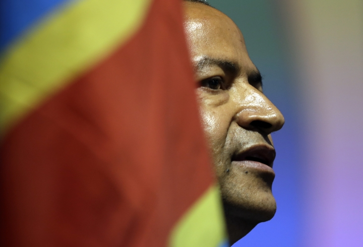 FILE - In this Monday, March 12, 2018 file photo, Congolese opposition leader Moise Katumbi speaks to delegates at a three-day forum in a resort hotel near Johannesburg, South Africa. Katumbi is expected to return to Congo on Monday May 20, 2019, one of a number of political exiles coming home after a new president took office this year. (AP Photo/Themba Hadebe, File)