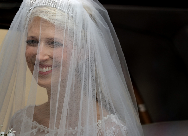 Bride, Lady Gabriella Windsor, arrives for her wedding to Thomas Kingston at St George's Chapel, Windsor Castle, near London, England, Saturday, May 18, 2019. (AP Photo/Frank Augstein, Pool)