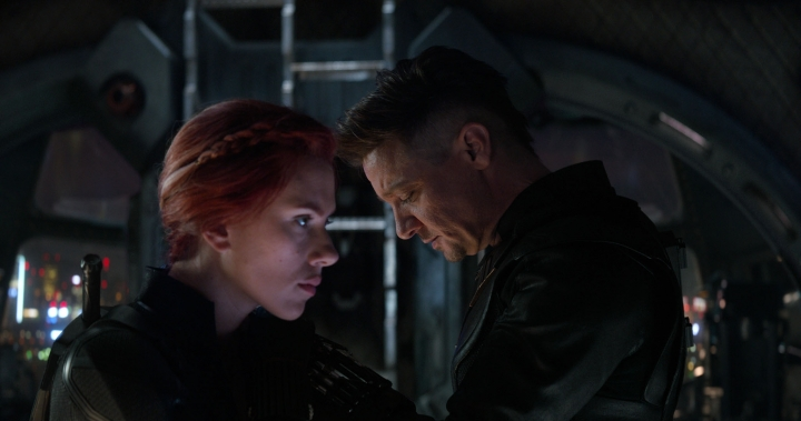 "This image released by Disney shows Scarlett Johansson, left, and Jeremy Renner in a scene from ""Avengers: Endgame."" (Disney/Marvel Studios via AP)"