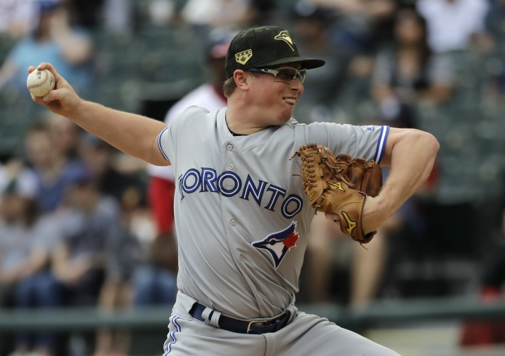 Toronto Blue Jays starting pitcher Trent Thornton throws against the Chicago White Sox during the first inning of a baseball game in Chicago, Sunday, May 19, 2019. (AP Photo/Nam Y. Huh)