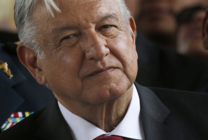 FILE - In this April 29, 2019 file photo, Mexican President Andrés Manuel López Obrador attends a ceremony at the Military Airbase Number 1 in Santa Lucia, on the outskirts of Mexico City. López Obrador said on Monday, May 20, 2019 that the government is ending tax forgiveness, which for years had been a gift to the country's biggest taxpayers. (AP Photo/Marco Ugarte, File)