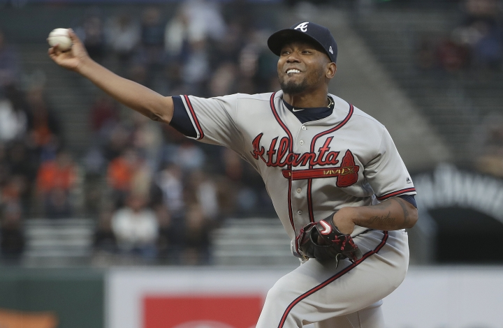 Atlanta Braves pitcher Julio Teheran throws to a San Francisco Giants batter during the second inning of a baseball game in San Francisco, Tuesday, May 21, 2019. (AP Photo/Jeff Chiu)