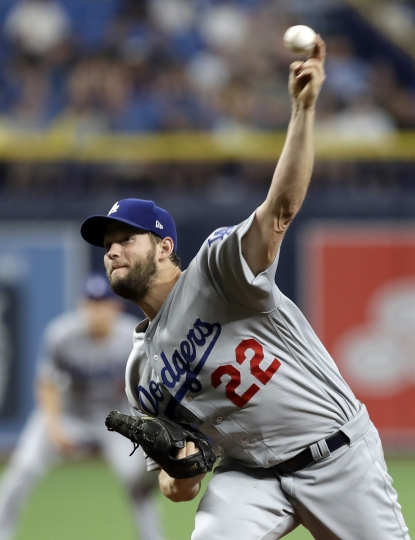 Los Angeles Dodgers' Clayton Kershaw pitches to the Tampa Bay Rays during the first inning of a baseball game Tuesday, May 21, 2019, in St. Petersburg, Fla. (AP Photo/Chris O'Meara)