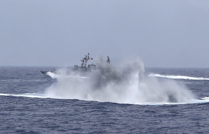 The Taiwan navy detonates a mine during a naval exercise off Hualien County, eastern Taiwan, Wednesday, May 22, 2019. (AP Photo/Chiang Ying-ying)