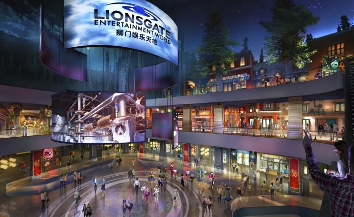 "This rendering released by Lionsgate shows the atrium of Lionsgate Entertainment World, a virtual reality-heavy theme park set to open in July on Hengqin island in Zhuhai, China. The park will feature rides, shops and attractions set in the worlds of popular Lionsgate films including ""The Hunger Games,"" ""Twilight"" and ""Escape Room."" (Lionsgate via AP)"