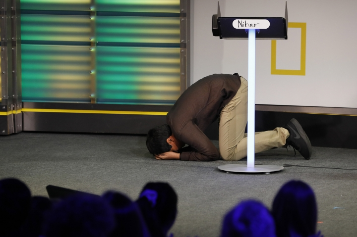 Nihar Janga, 14, of Austin, Texas, reacts as he wins the National Geographic GeoBee, Wednesday, May 22, 2019, at National Geographic in Washington. Janga is also a past co-winner of the National Spelling Bee, in 2016 when he won in a tie at eleven-years-old. (AP Photo/Jacquelyn Martin)
