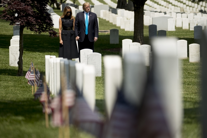 President Donald Trump and first lady Melania Trump visit Arlington National Cemetery for the annual Flags In ceremony, Thursday, May 23, 2019, in Arlington, Va.(AP Photo/Andrew Harnik)