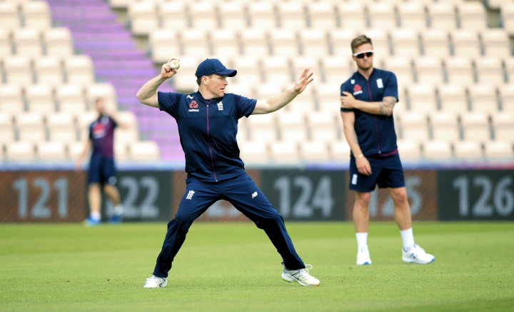 England's Eoin Morgan in action during a nets session at The Hampshire Bowl, in Southampton, England, Friday May 24, 2019. The Cricket World Cup starts on Thursday May 30. (Adam Davy/PA via AP)