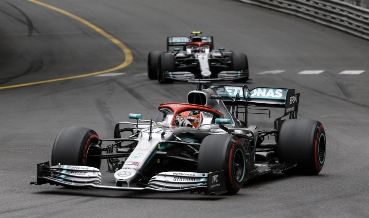 Mercedes driver Lewis Hamilton of Britain sees his car in front of Mercedes driver Valtteri Bottas of Finland during the Monaco Formula One Grand Prix race, at the Monaco racetrack, in Monaco, Sunday, May 26, 2019. (AP Photo/Luca Bruno)