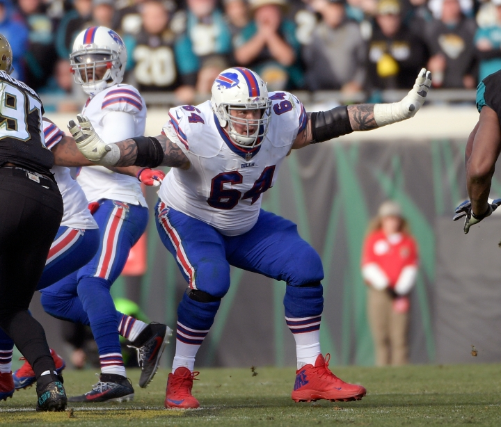 FILE - In this Jan. 7, 2018, file photo, Buffalo Bills offensive guard Richie Incognito (64) sets up to block against the Jacksonville Jaguars defense during the second half of an NFL wild-card playoff football game in Jacksonville, Fla. The Oakland Raiders have agreed to a one-year deal with troubled guard Richie Incognito. A person familiar with the deal said Tuesday, May 28, 2019, the two sides came to agreement after a few weeks of discussion. The person spoke on condition of anonymity because the signing has not been announced. (AP Photo/Phelan M. Ebenhack, File)
