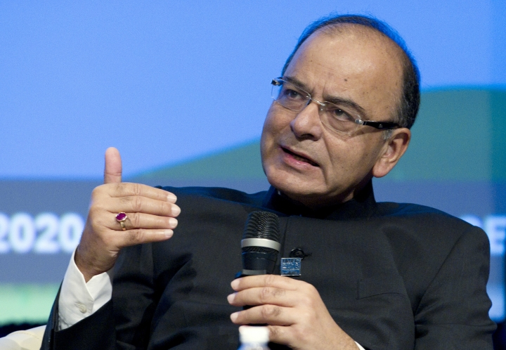 FILE- In this Oct. 7, 2016 file photo, India Finance Minister Arun Jaitley speaks during a panel discussion at the World Bank/IMF Annual Meetings at IMF headquarters in Washington. Jaitley, who carried out Prime Minister Narendra Modi's economic initiatives including tax and welfare reforms, has decided not to join Modi's new government to be sworn in Thursday, citing health reasons. (AP Photo/Jose Luis Magana, File)