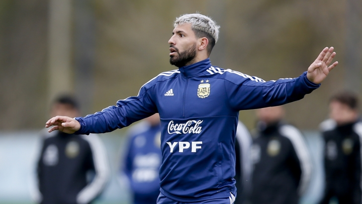 Argentina player Sergio Aguero attends a training session in Buenos Aires, Argentina, Thursday, May 30, 2019, ahead of the Copa America in neighboring Brazil. (AP Photo/Natacha Pisarenko)