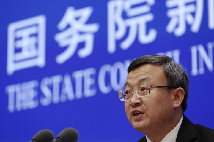 """Chinese Vice Minister of Commerce Wang Shouwen speaks during a press conference about China-U.S. Trade issues at the State Council Information Office in Beijing, Sunday, June 2, 2019. China issued a report blaming the United States for a trade dispute and says it won't back down on """"major issues of principle."""" (AP Photo/Andy Wong)"""