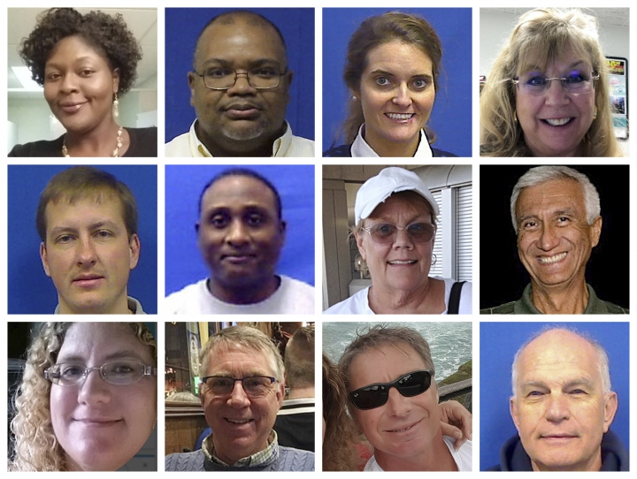 "This combination of photos provided by the City of Virginia Beach on Saturday, June 1, 2019 shows victims of Friday's shooting at a municipal building in Virginia Beach, Va. Top row from left are Laquita C. Brown, Ryan Keith Cox, Tara Welch Gallagher and Mary Louise Gayle. Middle row from left are Alexander Mikhail Gusev, Joshua O. Hardy, Michelle ""Missy"" Langer and Richard H. Nettleton. Bottom row from left are Katherine A. Nixon, Christopher Kelly Rapp, Herbert ""Bert"" Snelling and Robert ""Bobby"" Williams. (Courtesy City of Virginia Beach via AP)"