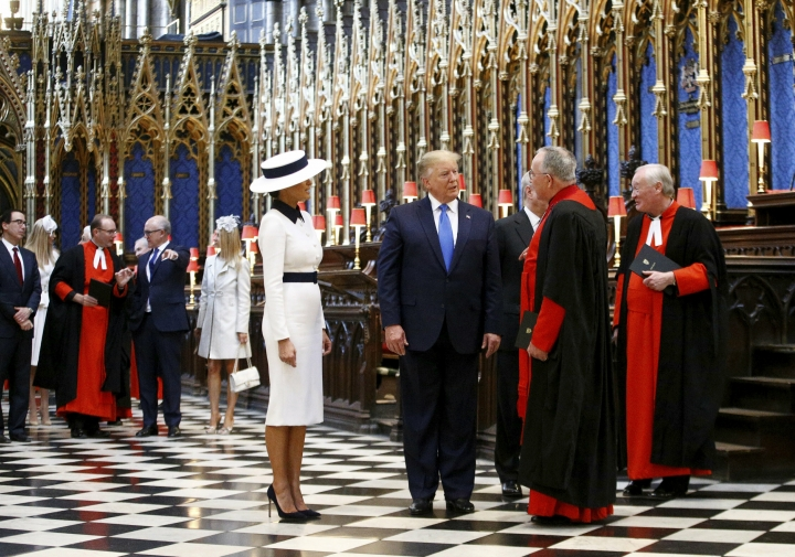 U.S. President Donald Trump and First Lady Melania Trump tour Westminster Abbey in London, Monday, June 3, 2019. Trump is on a three-day state visit to Britain. (Henry Nicholls/Pool photo via AP)