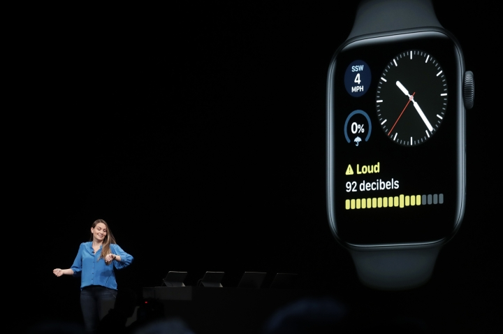 Apple's Haley Allen speaks about the Apple Watch at the Apple Worldwide Developers Conference in San Jose, Calif., Monday, June 3, 2019. (AP Photo/Jeff Chiu)