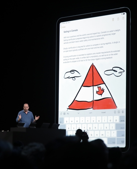 Apple's Toby Paterson speaks about Apple Pencil at the Apple Worldwide Developers Conference in San Jose, Calif., Monday, June 3, 2019. (AP Photo/Jeff Chiu)