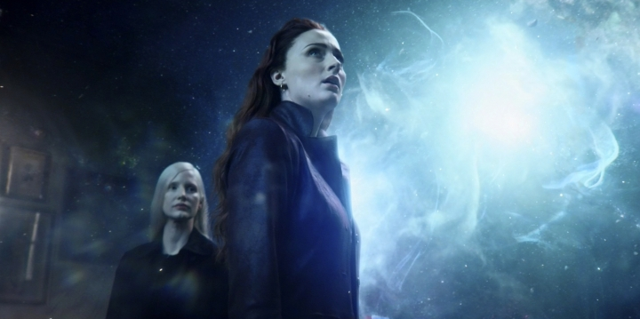 "This image released by Twentieth Century Fox shows Sophie Turner and Jessica Chastain, left, in a scene from ""Dark Phoenix."" (Twentieth Century Fox via AP)"