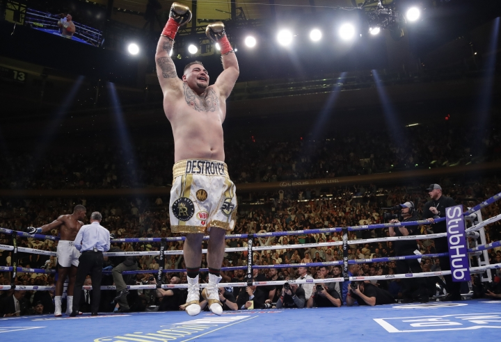 Andy Ruiz celebrates after stopping Anthony Joshua during the seventh round of a heavyweight championship boxing match Saturday, June 1, 2019, in New York. (AP Photo/Frank Franklin II)