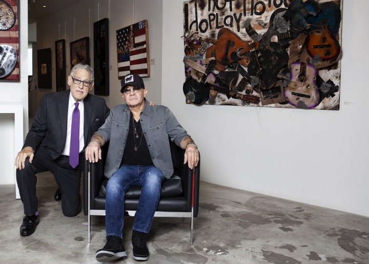 Bernie Taupin poses for a portrait with Michael Schwartz at Galerie Michael in Beverly Hills, Calif., Wednesday, June 5, 2019. (Photo by Rebecca Cabage/Invision/AP)