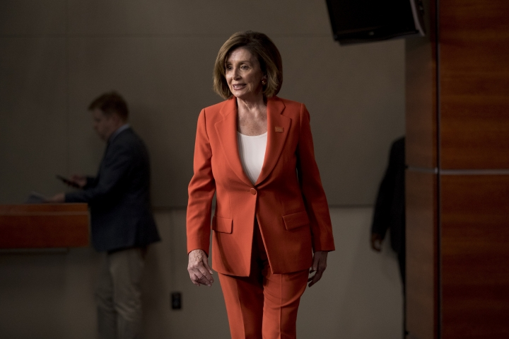 House Speaker Nancy Pelosi of Calif. arrives to meet with reporters at the Capitol in Washington, Wednesday, June 5, 2019. (AP Photo/Andrew Harnik)