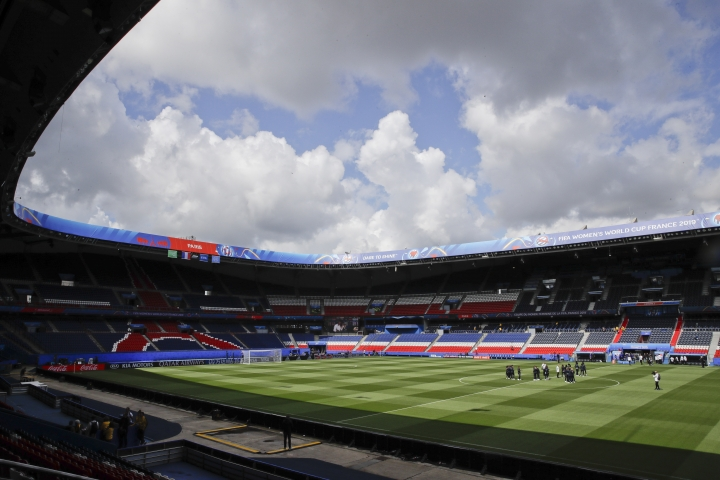 France players visit the Parc des Princes stadium a day before their Group A soccer match against South Korea at the Women's World Cup in Paris, Thursday, June 6, 2019. (AP Photo/Alessandra Tarantino)